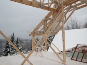 frame trusses on a custom lake home near ely mn john huisman
