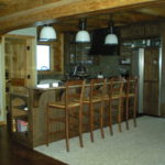 Log home kitchen, breakfast bar, granite