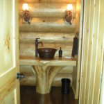 Powder room cedar stump vanity