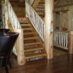 log stairs, log railing, hickory floor