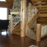 log stairs, railing, hickory floor