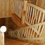 Cedar stairs and aspen log railing