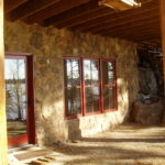 Stone work on basement walkout, wineberry windows