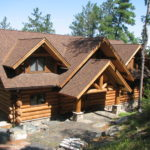 Large log home, cedar logs dormers
