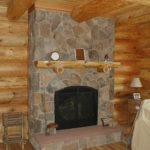 Split rock fireplace