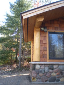 ston and cedar sauna building