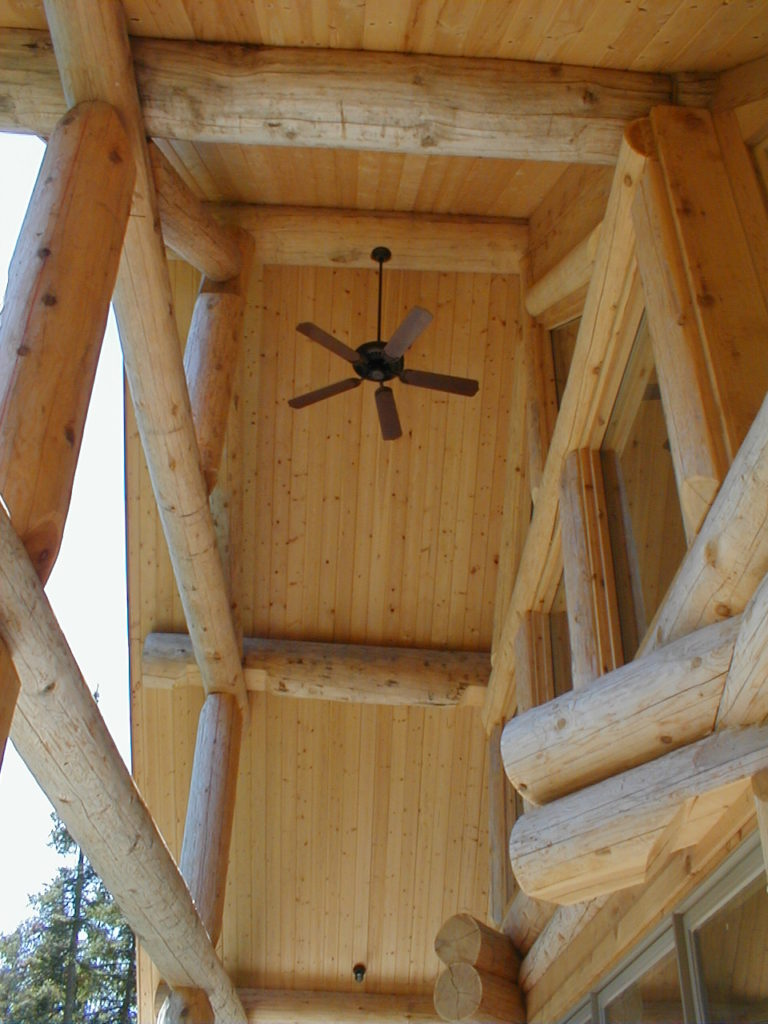 Ceiling fan on lakeside deck