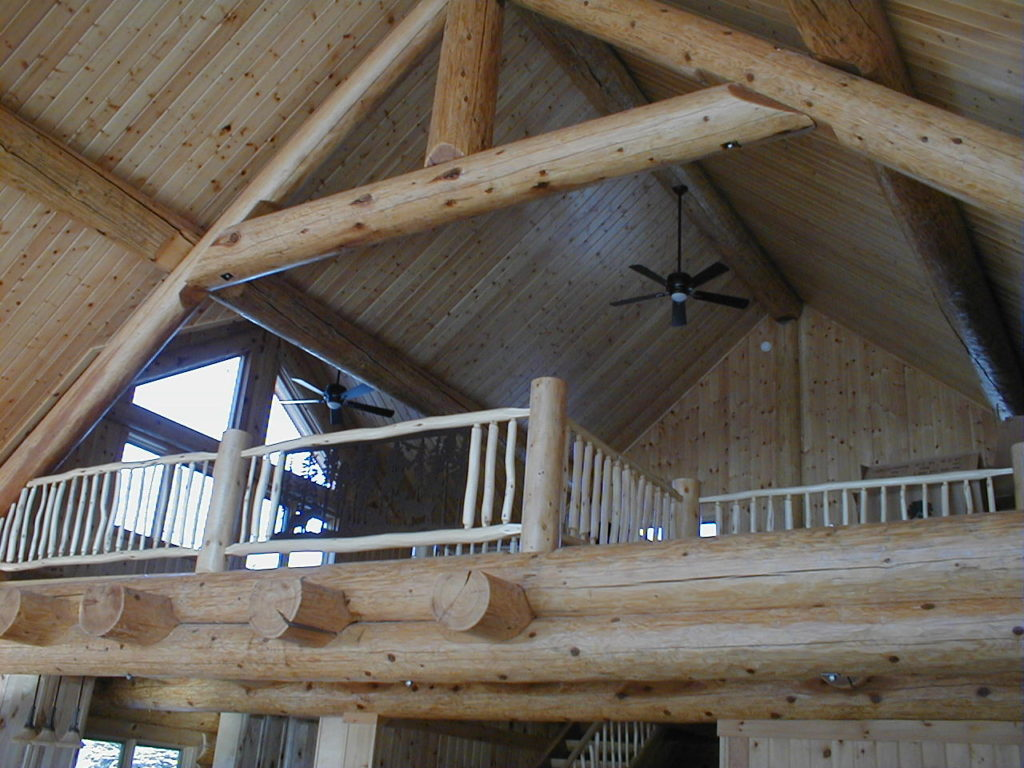 Log railing and log truss