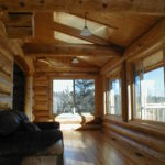 Windows to the lake, skylights, cedar log walls
