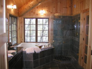 Master bath shower and whirlpool tub in the loft