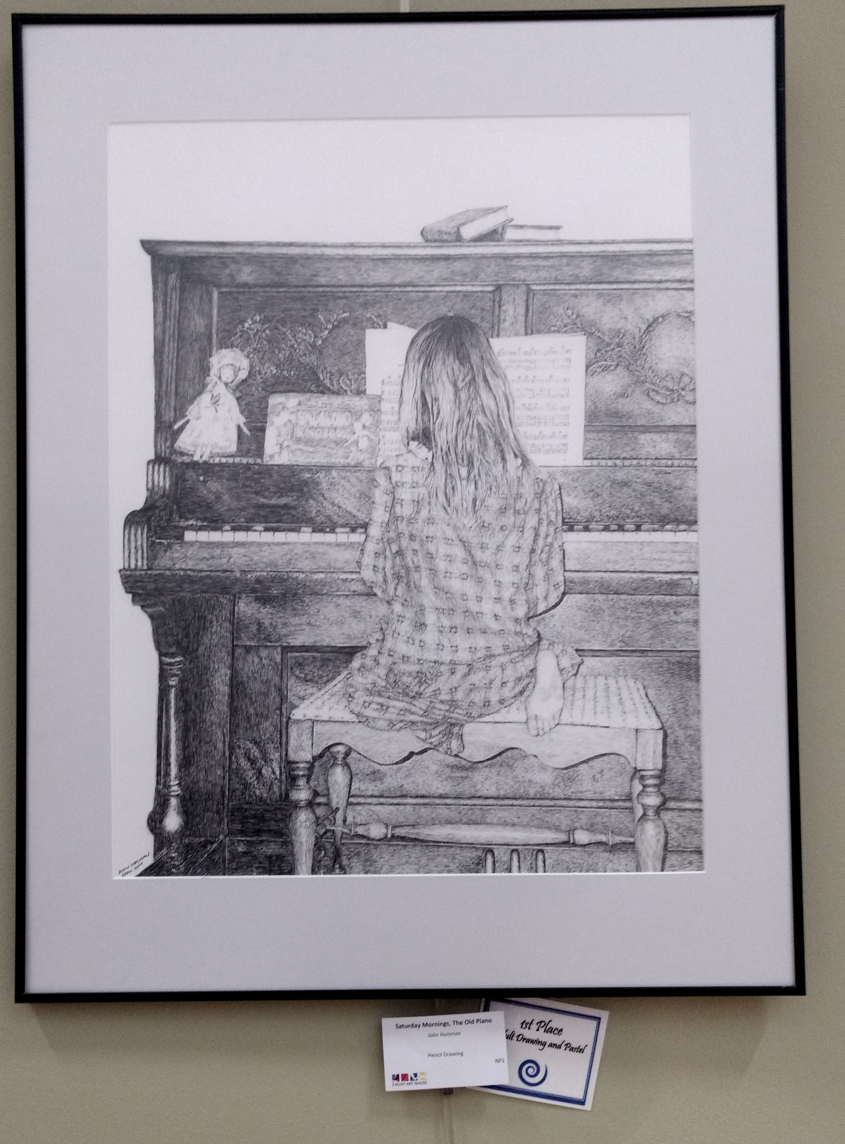 "Saturday Mornings, the old piano, 1st place in the Eagan Art House ""Welcome Home"" show, adult drawing and pastel category."