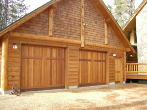 Garage, custom log home