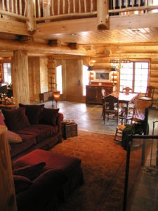Beautiful great room/ dining room area in cedar log home