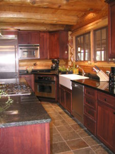 Kitchen area in cedar log home