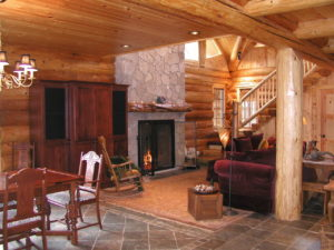 Log home great room and fireplace