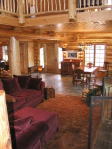 Great room in a beautiful log home