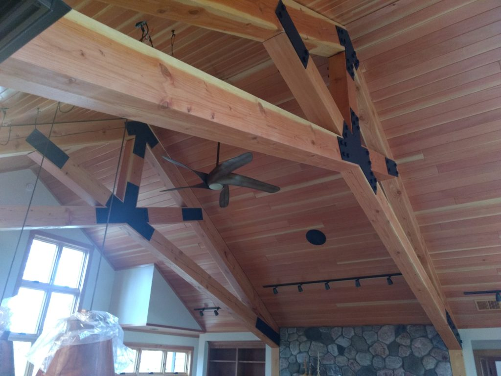 Doug fir beams and ceiling in greatroom