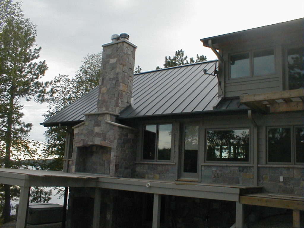 Cedar and stone lake home