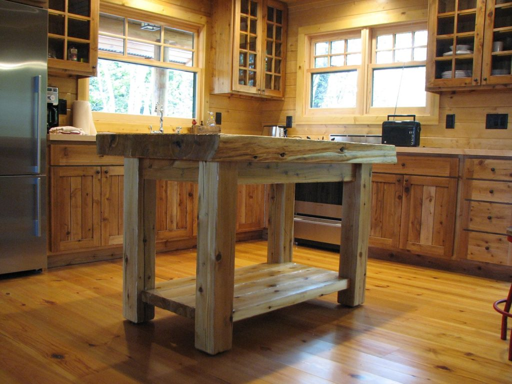 Island table, custom built of white cedar distressed