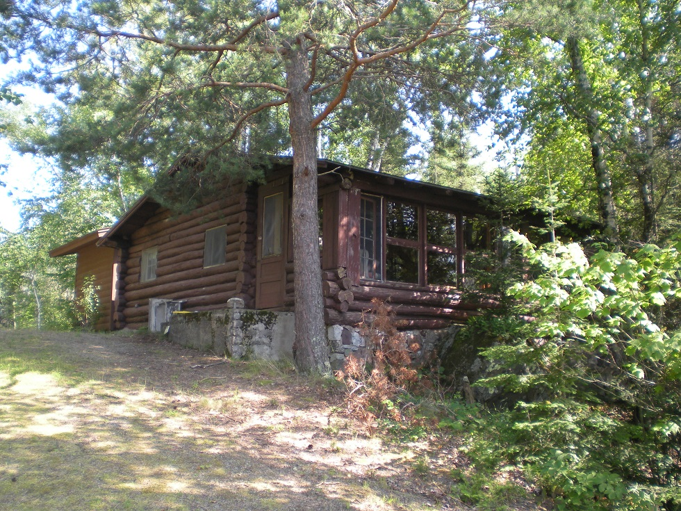 Old log cabin before rehab project